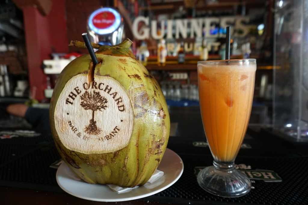 Fresh coconuts at The Orchard Bar & Restaurant